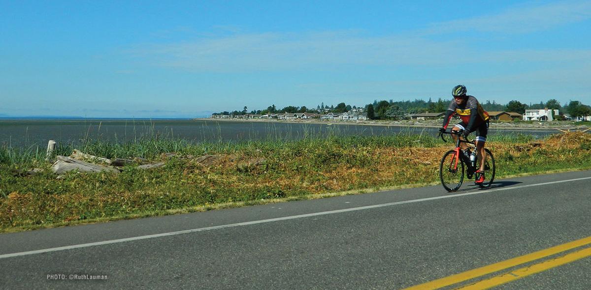 Cycling aling Birch Bay Drive in Birch Bay WA